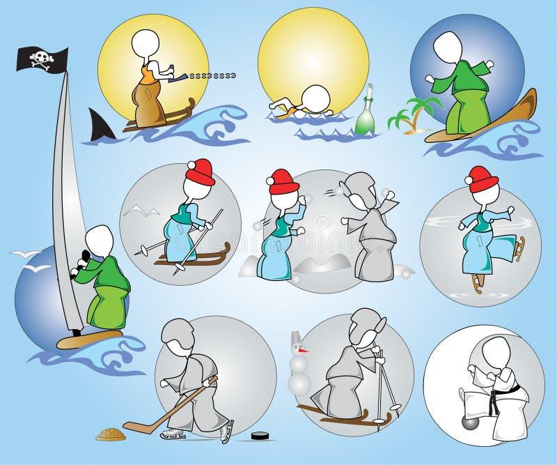 Download Sport Hobby Rest Winter Summer Stock Vector - Illustration of swimming, sport: 12726420