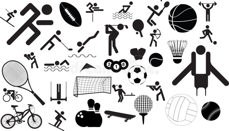Download Sport icon set stock vector. Image of blue, figure, golf - 11803996