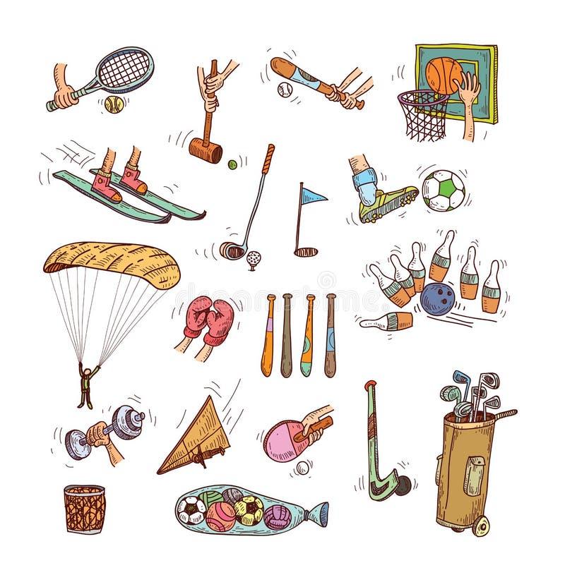 Sport icon set, Hand drawn vector illustration royalty free illustration
