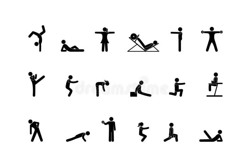 Sport icon, stick figure man pictogram, human silhouette isolated royalty free illustration