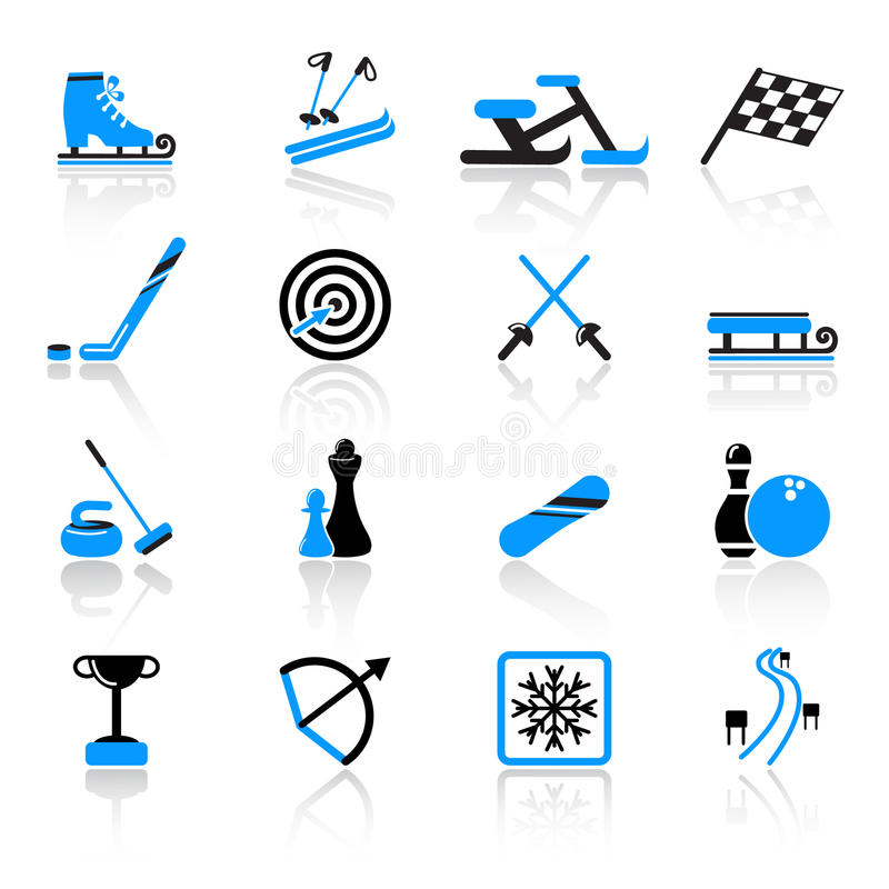 Sport icons. Set of 16 sport icons royalty free illustration