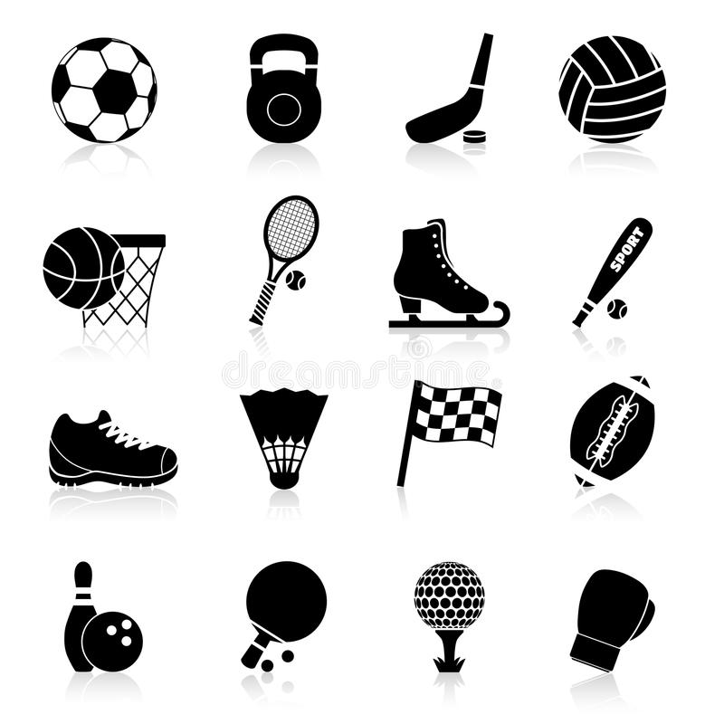 Sport Icons Black. Set with basketball rugby baseball hockey professional equipment isolated vector illustration vector illustration