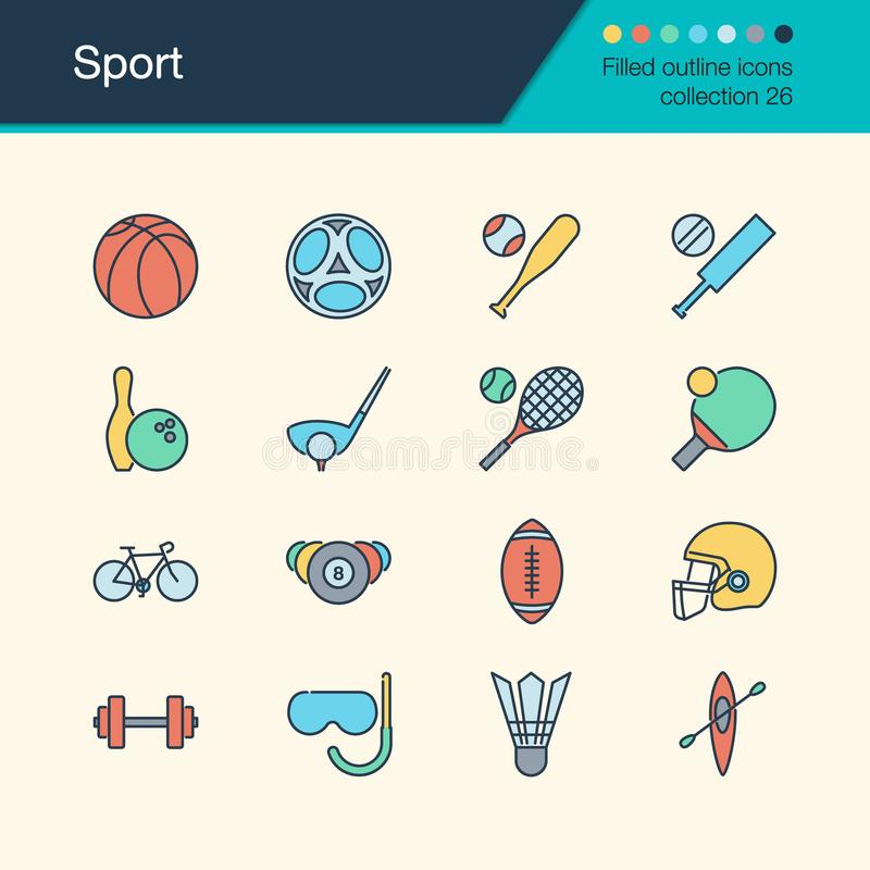 Sport icons. Filled outline design collection 26. For presentation, graphic design, mobile application, web design, infographics. Vector illustration stock illustration
