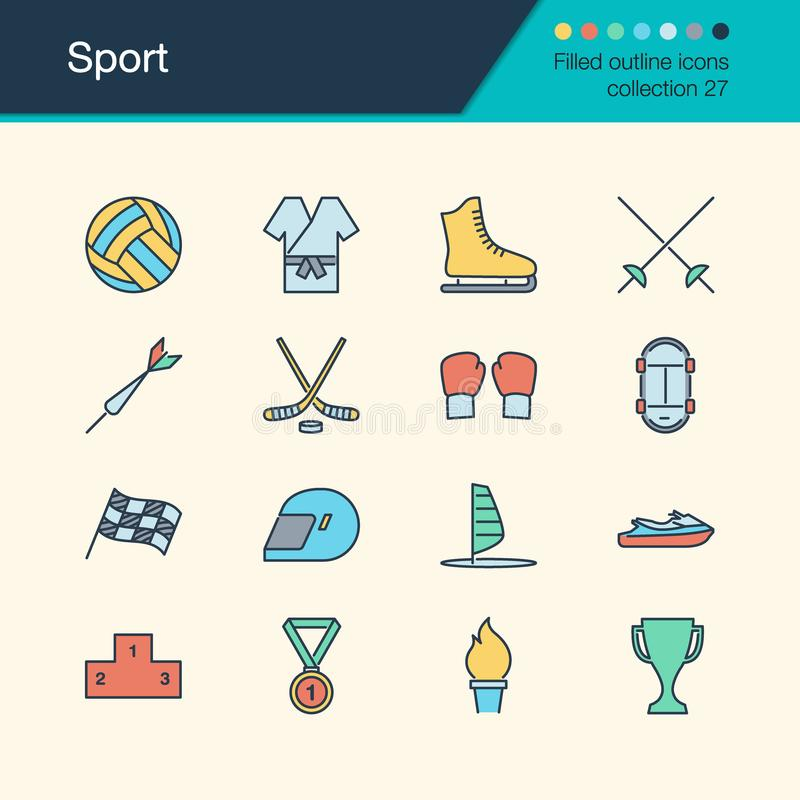 Sport icons. Filled outline design collection 27. For presentation, graphic design, mobile application, web design, infographics. Vector illustration stock illustration