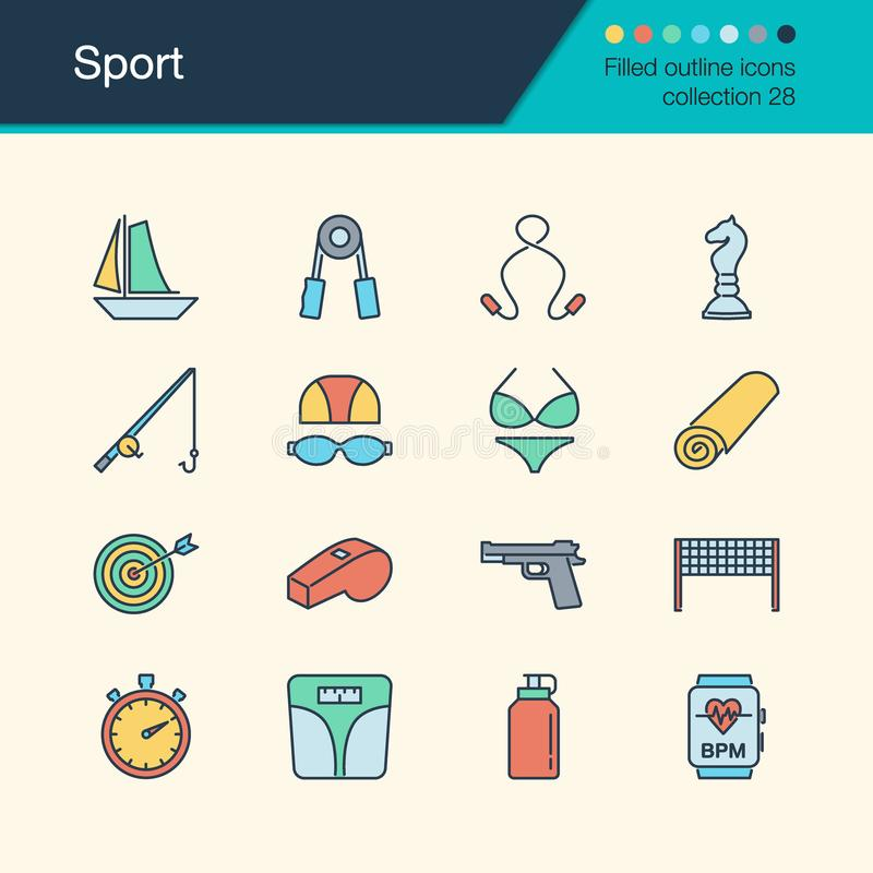 Sport icons. Filled outline design collection 28. For presentation, graphic design, mobile application, web design, infographics. Vector illustration royalty free illustration