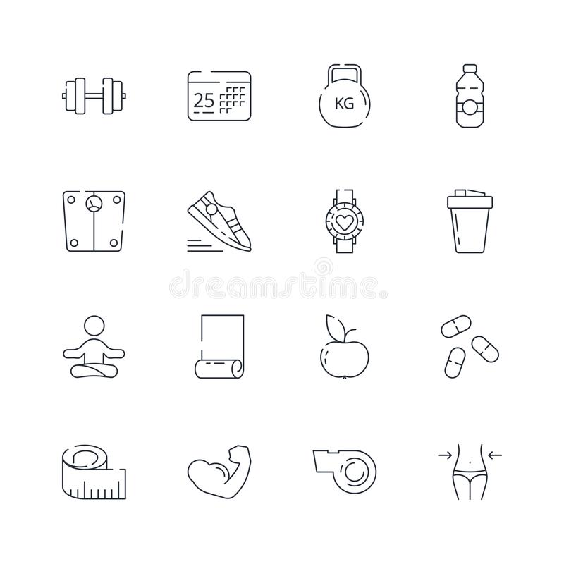 Sport icons. Fitness athlete nutrition aerobics fit coaching healthy food vector thin line symbols. Fit and sport, kettlebell and nutrition illustration royalty free illustration