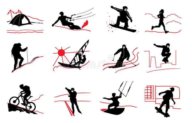 Sport icons. Set of active sport icons royalty free illustration