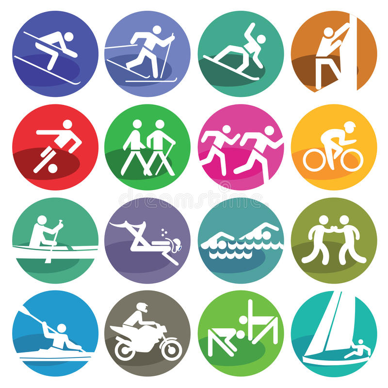 Sport icons set. Set of coloured sport icons isolated on white background royalty free illustration