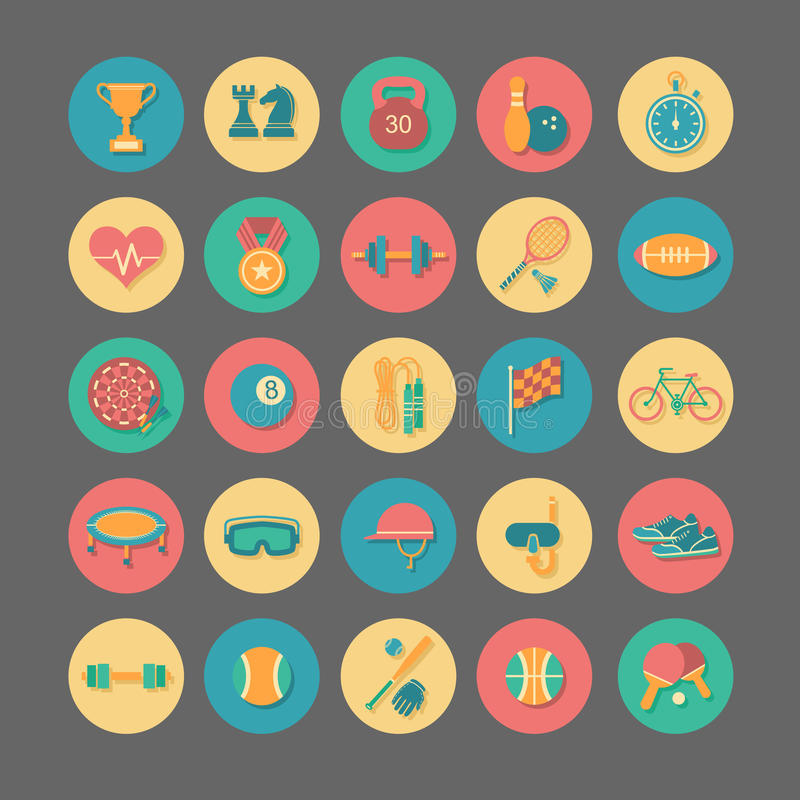 Sport icons. Set of sport icons in flat design stock illustration