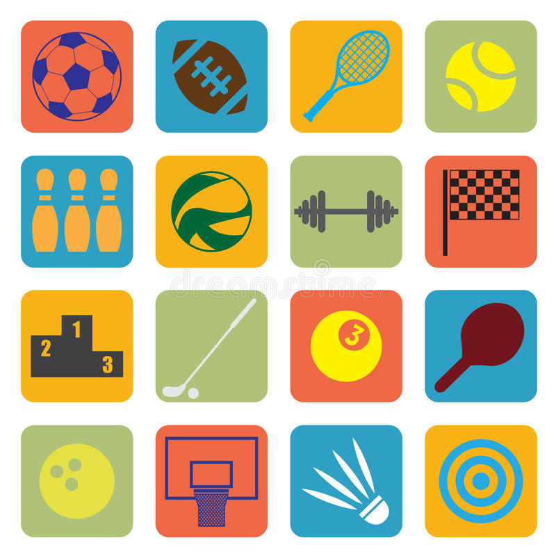 Download Sport icons stock vector. Image of flat, soccer, dumbbell - 40983998