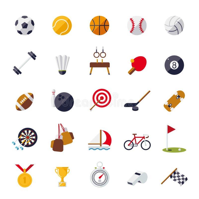 Sport ikon płaskiego projekta wektoru odosobniony set royalty ilustracja