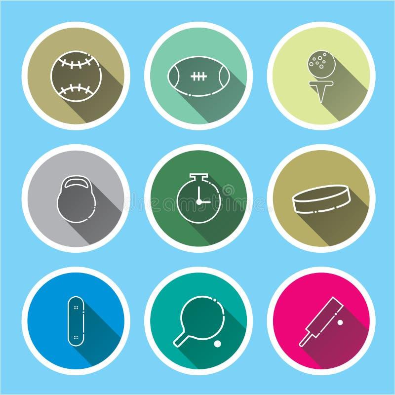 sport ikony ustawiać na błękitów cieniach długo ilustracja wektor