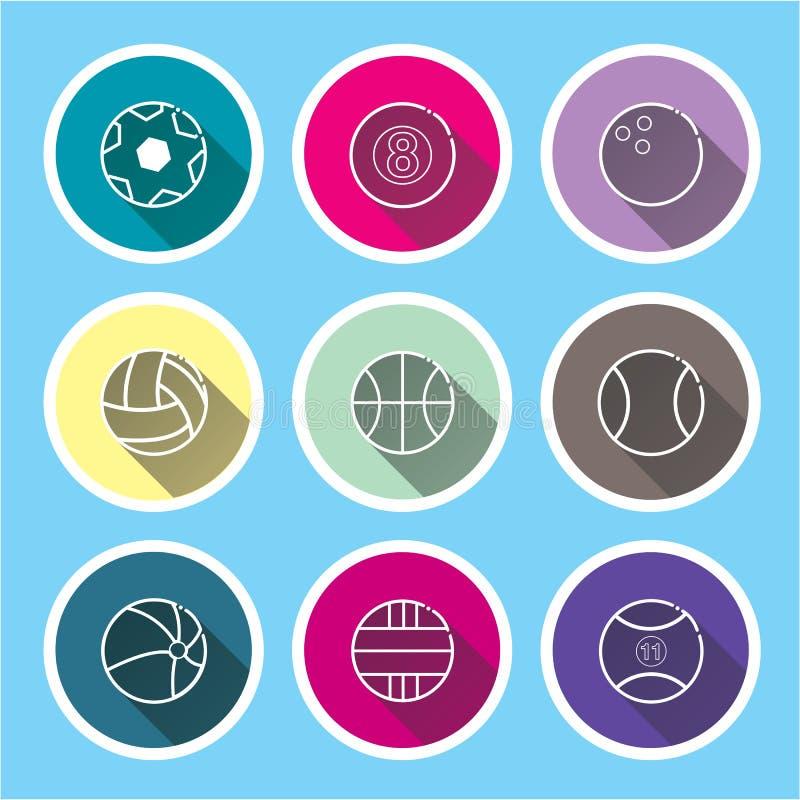 sport ikony ustawiać na błękitów cieniach długo ilustracji