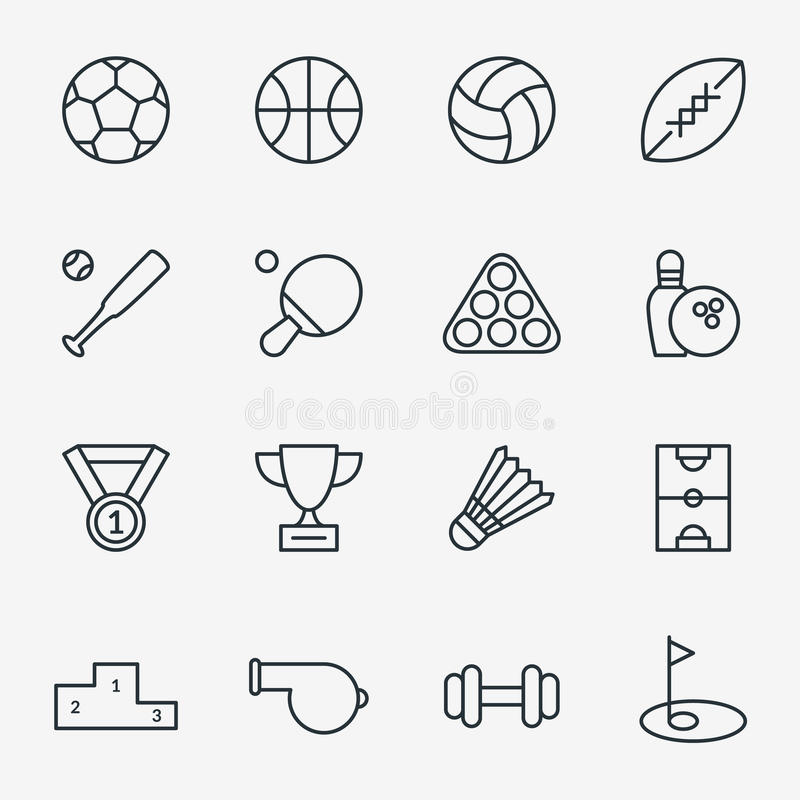 Sport ikony w cienkim kreskowym stylu ilustracji