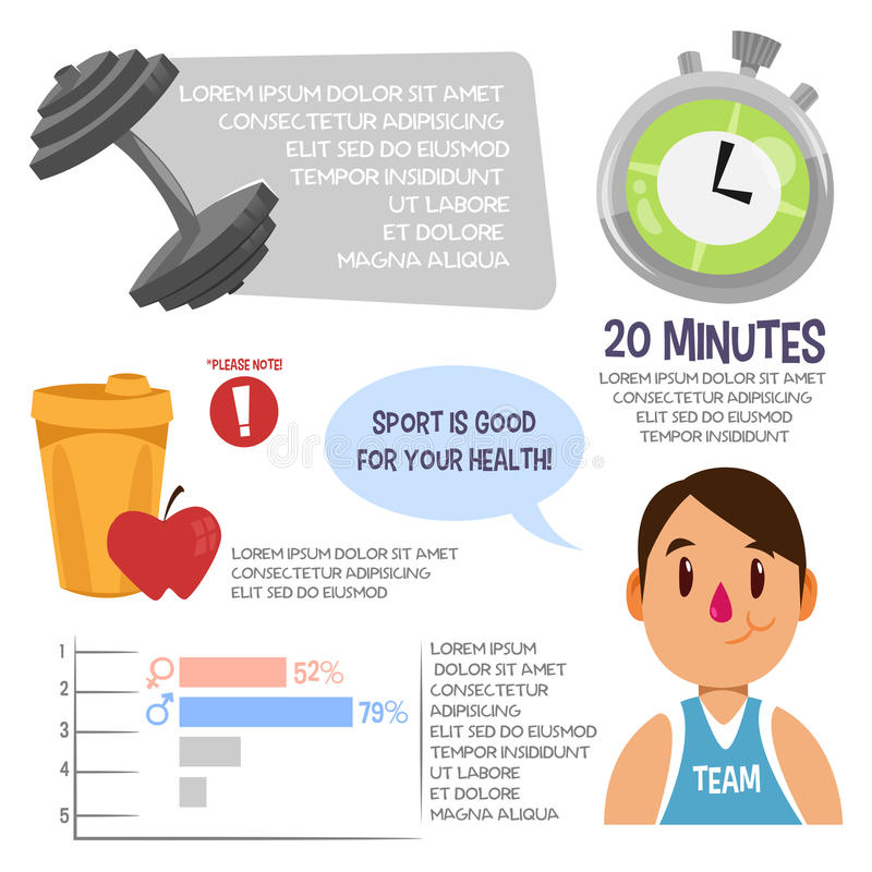 Sport infographic for men. Vector illustration royalty free stock photography
