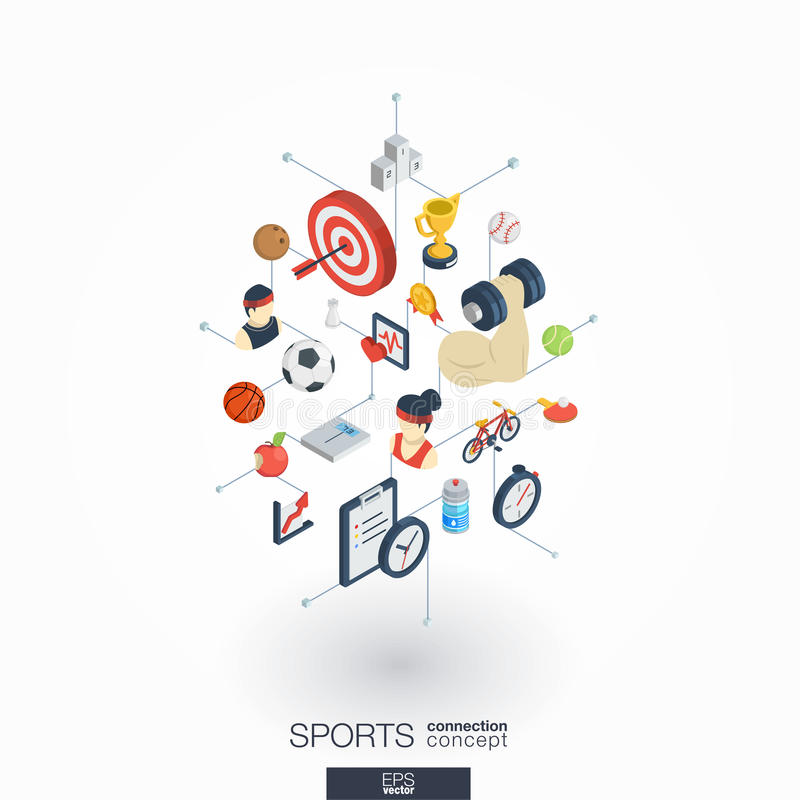 Sport integrated 3d web icons. Digital network isometric concept. stock illustration