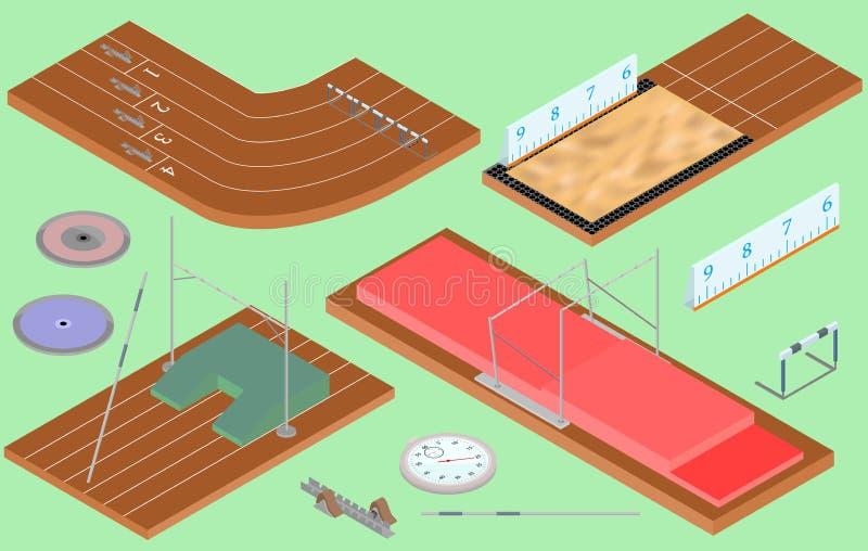 Sport isometrici - attrezzatura atletica, campo, percorsi illustrazione di stock