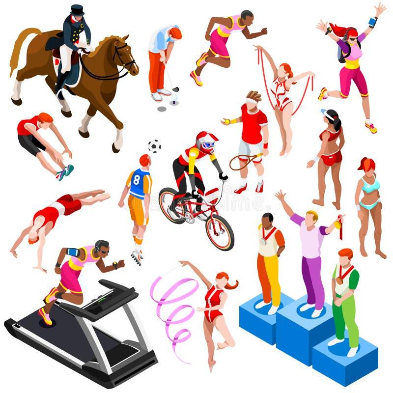 Sport Isometrische Olympische Sportmannen Geplaatst Vectorillustratie royalty-vrije illustratie