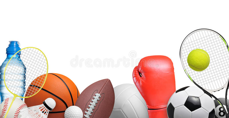 Sport items. Set of sport items isolated on white background royalty free stock photos