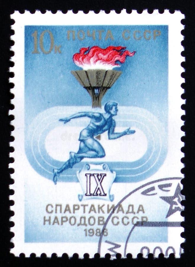 Sport IX e riunione di atletica della gente dell'URSS, circa 1986 fotografie stock libere da diritti