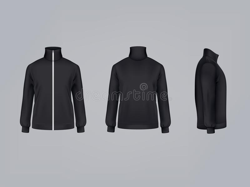 Sport jacket or long sleeve sweatshirt vector illustration 3D mockup model of sportswear apparel icon. Sport jacket or long sleeve black sweatshirt vector vector illustration
