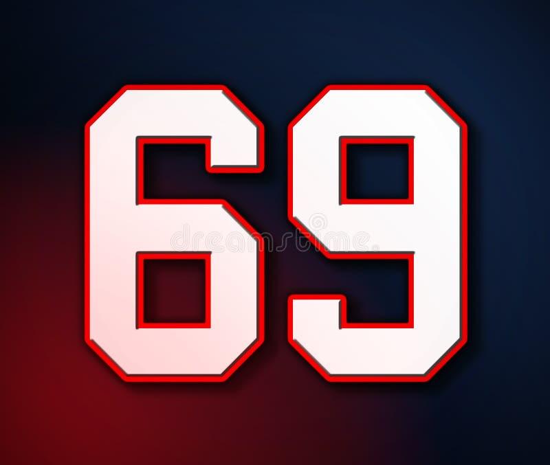 Sport-Jersey-Zahl des amerikanischen Fußball-69 klassische in den Farben des Patrioten Entwurf der amerikanischen Flagge, Illustr stock abbildung