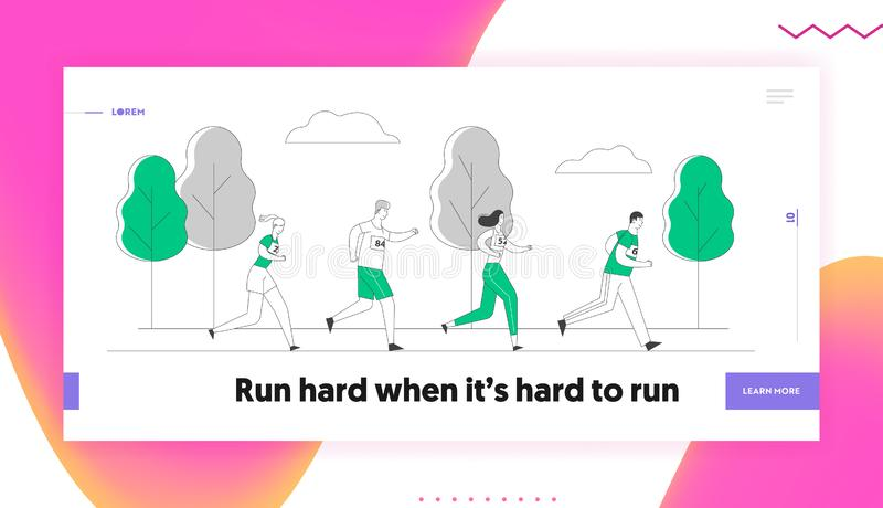 Sport Jogging Competition Website Landing Page. Group of People Running Marathon Distance. Athlete Sprinter Sportsmen. And Sportswomen Run Web Page Banner stock illustration