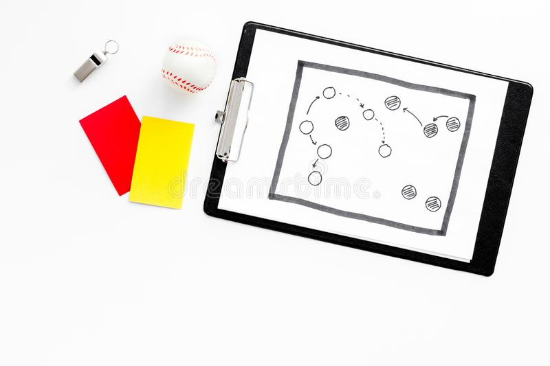 Sport judging concept. Soccer referee. Tactic plan for game, ball, red and yellow cards, whistle on white background top stock photos