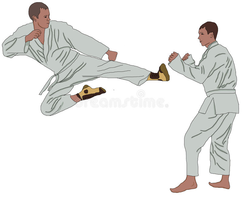 Sport karate attack tatami bold contention guy stripling male struggle force tussle kimono business blow boy businessman white vector illustration