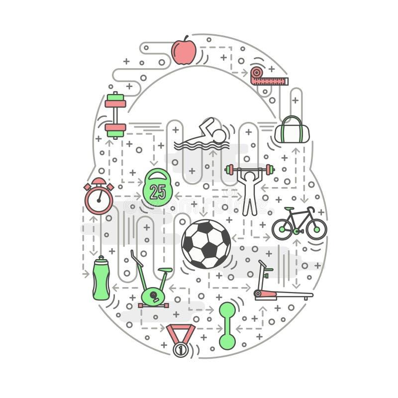 Sport kettlebell shaped vector illustration in flat linear style vector illustration