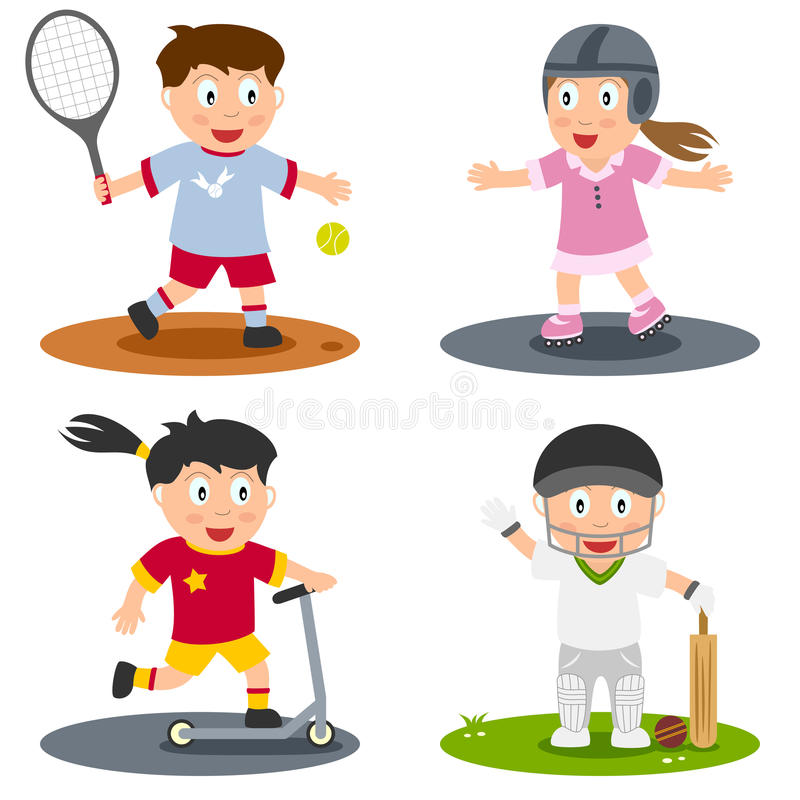 Sport Kids Collection [5]. Collection of four kids playing sport (tennis, rollerblade, push scooter and cricket), isolated on white background. Eps file stock illustration