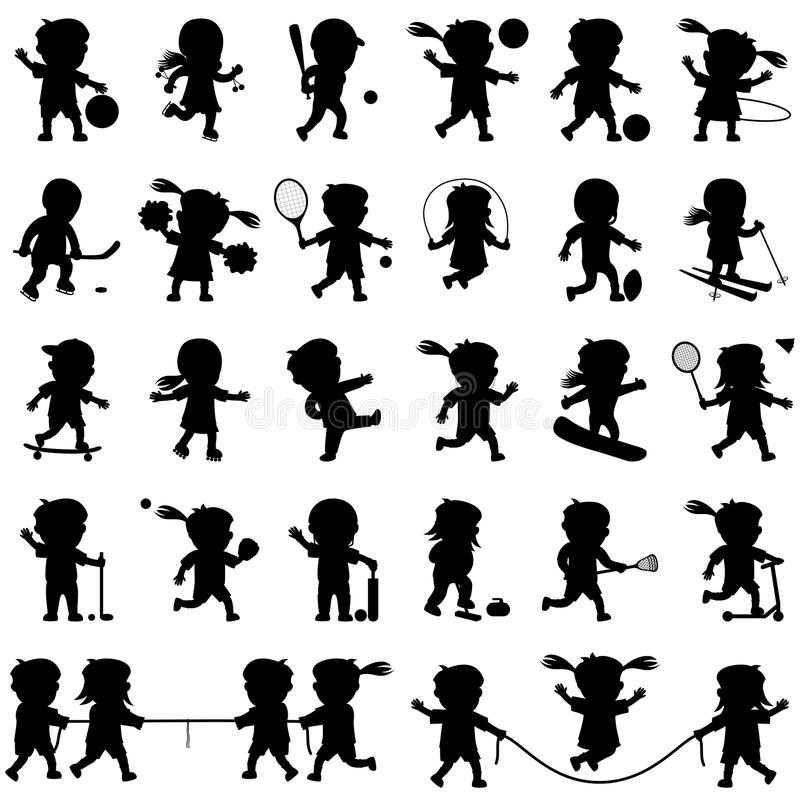 Sport Kids Silhouettes Set. Collection of cartoon kids silhouettes playing different sports, isolated on white background. Eps file available