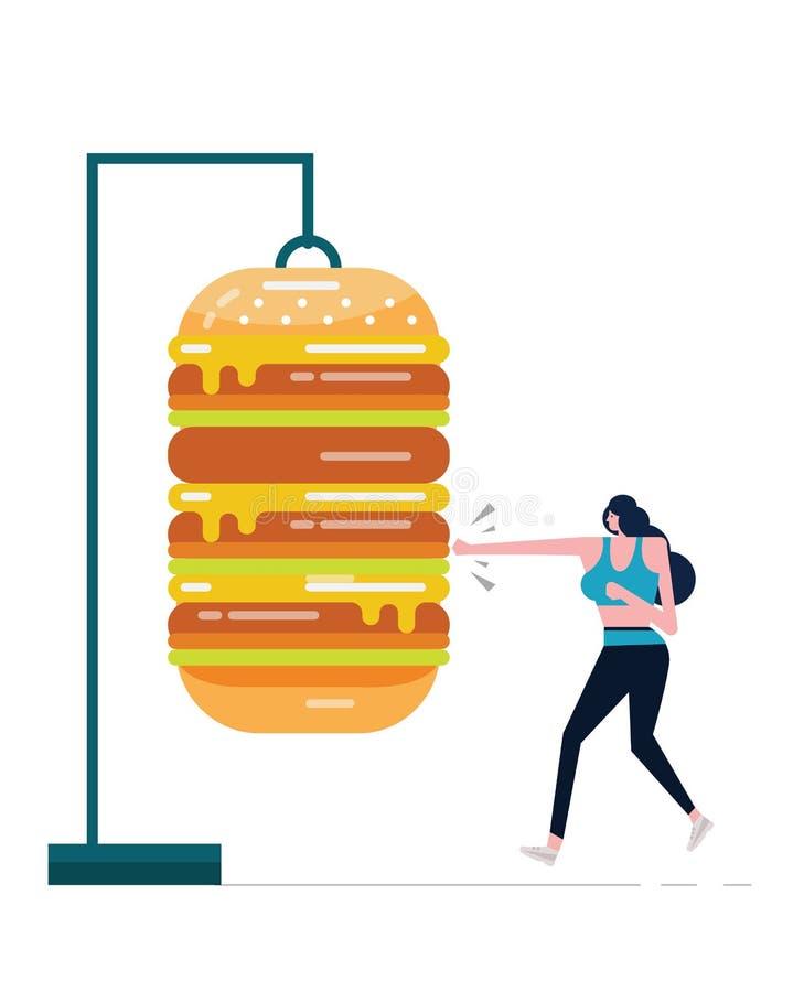 Sport kobieta boksuje dużego hamburger ilustracji