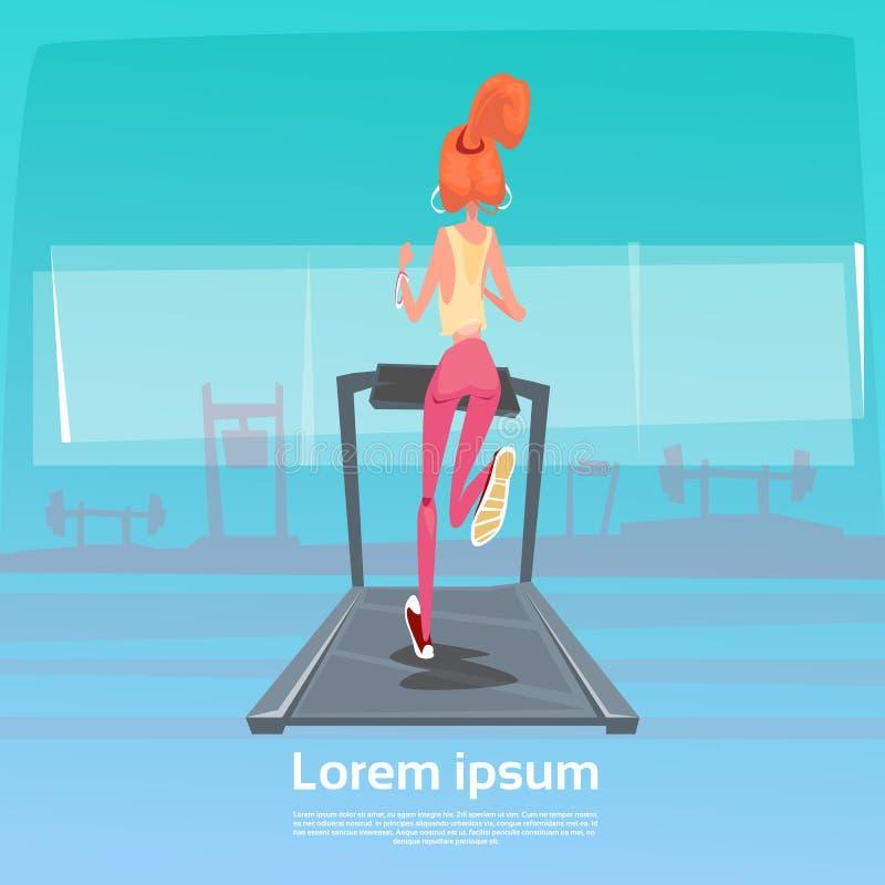 Sport kobieta Jogging Z sprawność fizyczna tropicielem Na nadgarstku Na bieg śladu Kieratowego ćwiczenia treningu Gym ilustracja wektor