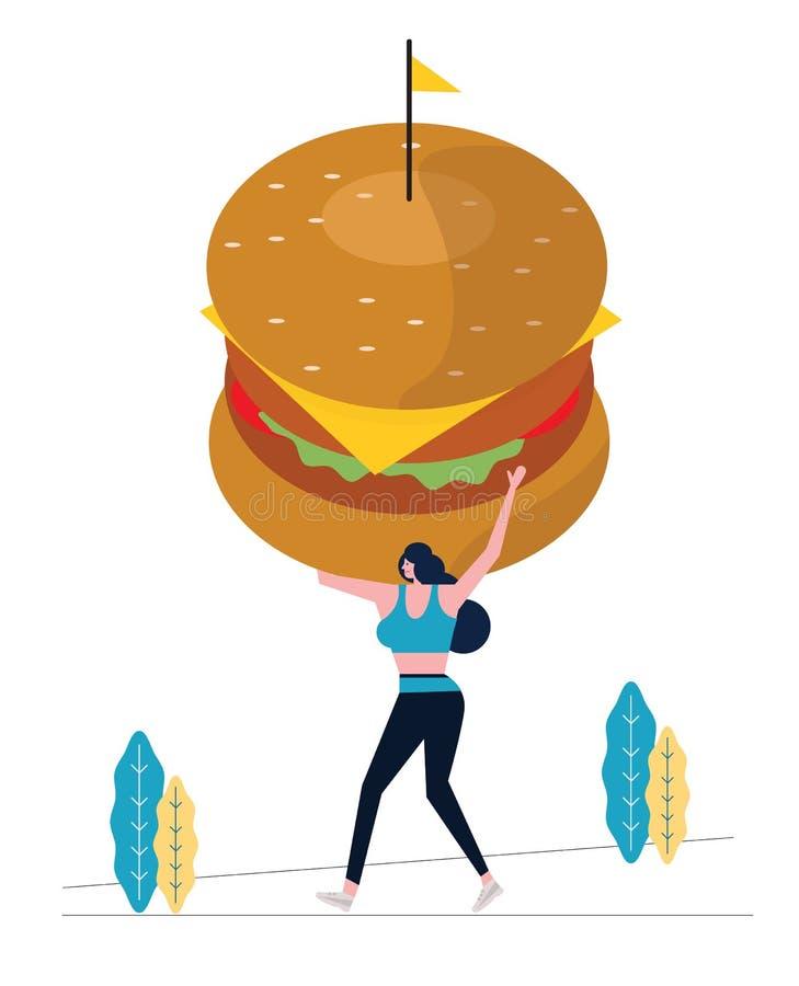 Sport kobieta trzyma dużego hamburger i ćwiczyć royalty ilustracja