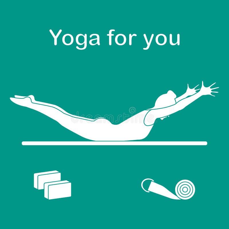 sport Kobieta w joga pozie, bloki, pasek dla joga royalty ilustracja