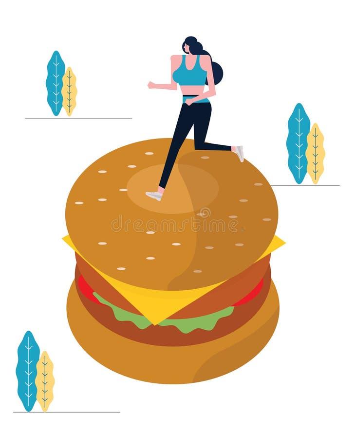 Sport kobiety bieg na dużym hamburgerze royalty ilustracja