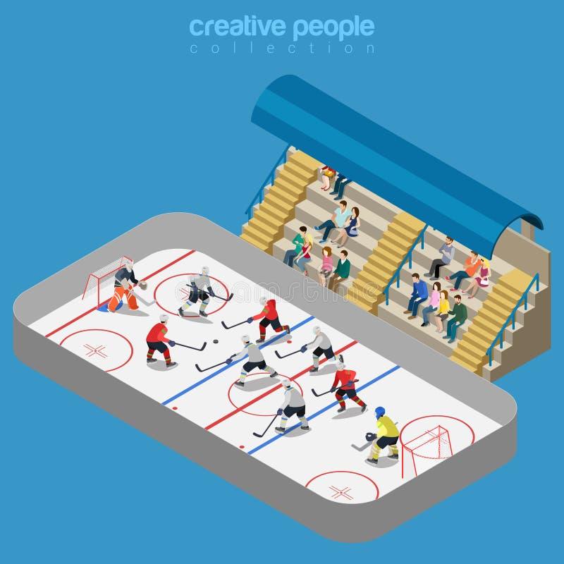 Sport kolekcja: hokejowego areny stadium zapałczana sztuka ilustracja wektor