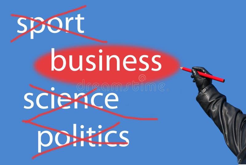 Sport ? La Science ? La politique ? Affaires ! photographie stock