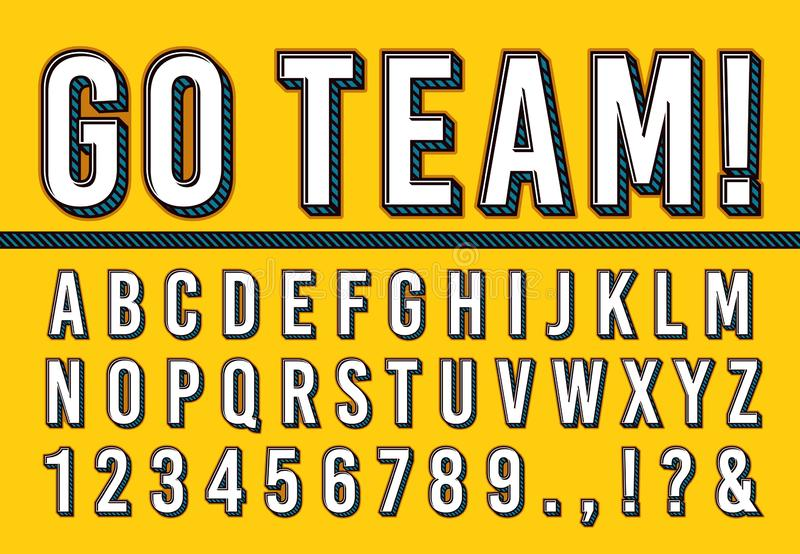 Sport letters font. College sports team typography lettering, sporting fonts alphabet and campus numbers 3d vector vector illustration