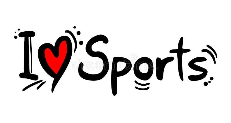 Sport liebt Mitteilung stock abbildung