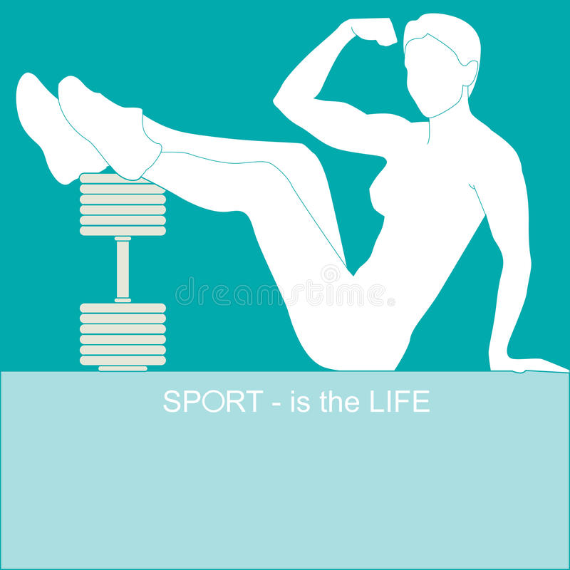 Sport - is the life. Athletic girl sitting near the dumbbells after training stock illustration