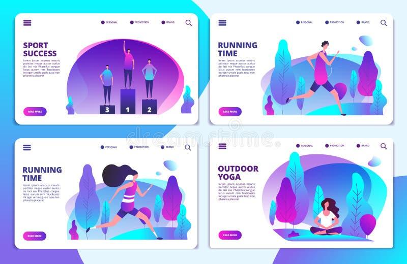 Sport life landing page templates. Vector yoga, running, sport success web banners vector illustration