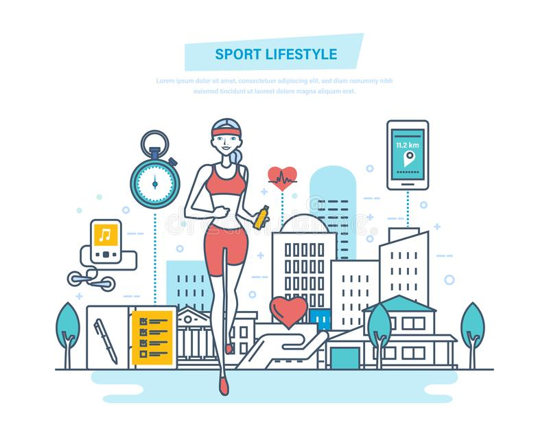 Sport lifestyle concept. Fitness classes, healthy lifestyle, active sport, yoga. royalty free illustration