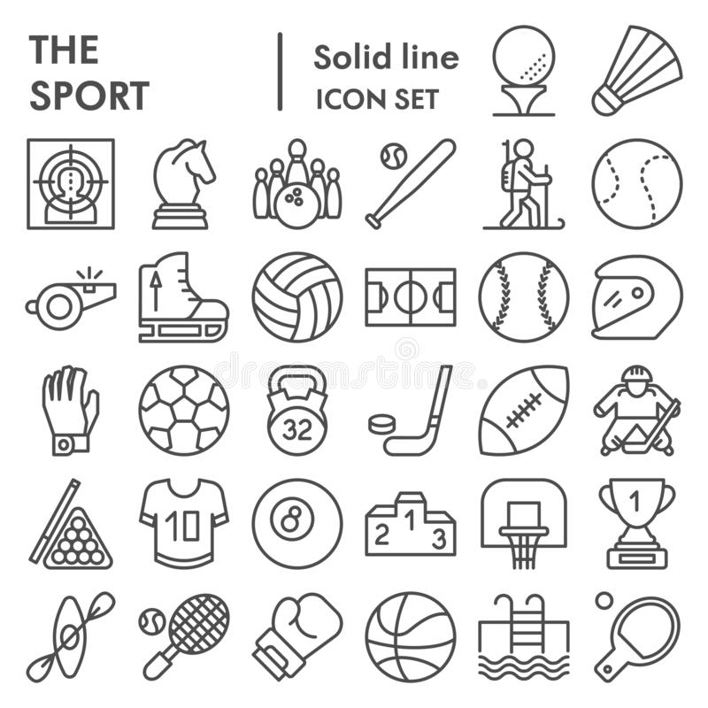 Sport line icon set, game symbols collection, vector sketches, logo illustrations, entertainment signs linear pictograms stock illustration