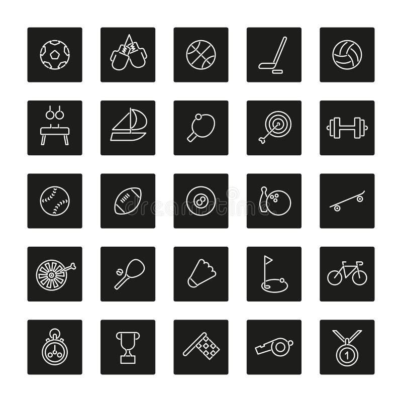 Sport linii kwadrata czerni ikony Inkasowe ilustracja wektor