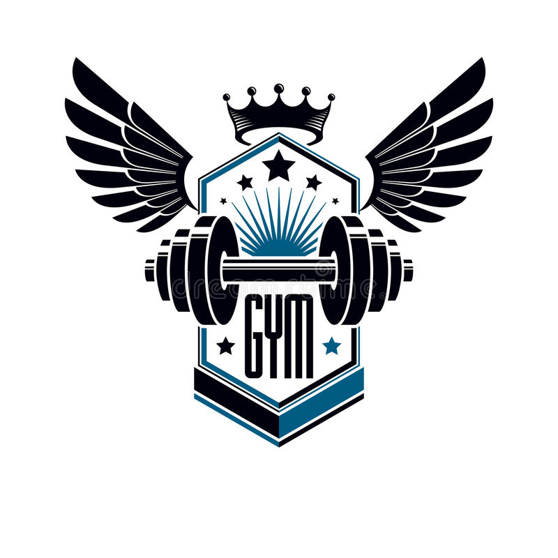 Sport logo for weightlifting gym and fitness club, vintage style. Vector emblem with wings. With barbell vector illustration