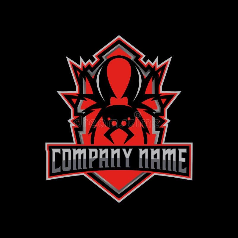 Sport-Logovektor der Redbacksspinne e lizenzfreie abbildung