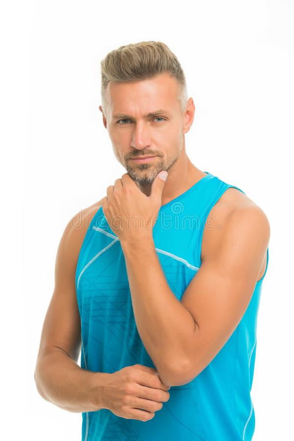 Sport maintain healthy body. Mature but still young. Guy sport outfit. Fashion concept. Man model clothes shop. Sport. Style. Menswear and fashionable clothing royalty free stock photo