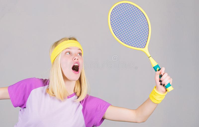 Sport for maintaining health. Active lifestyle. Woman hold tennis racket in hand. Tennis club concept. Tennis sport and stock image